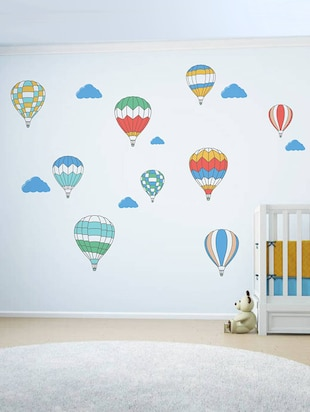 Rawpockets Wall Decals ' Air Ballon Story - Kid's Room '  Wall stickers (PVC Vinyl) Multicolour - 15734027 - Standard Image - 3