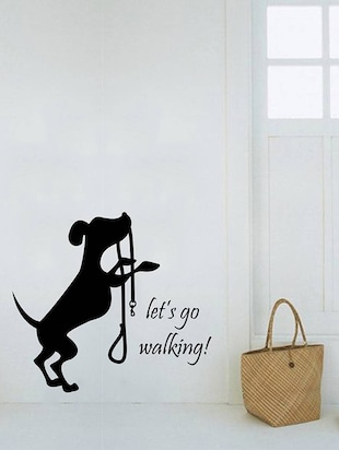 Rawpockets Wall Decals ' Let's go Walking Dog '  Wall stickers (PVC Vinyl) Multicolour - 15734030 - Standard Image - 3