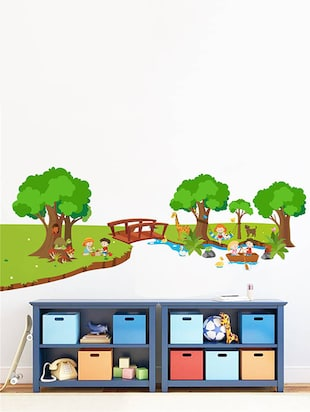 Rawpockets Wall Decals ' River and Park for Children - Kid's Room '  Wall stickers (PVC Vinyl) Multicolour - 15734032 - Standard Image - 3