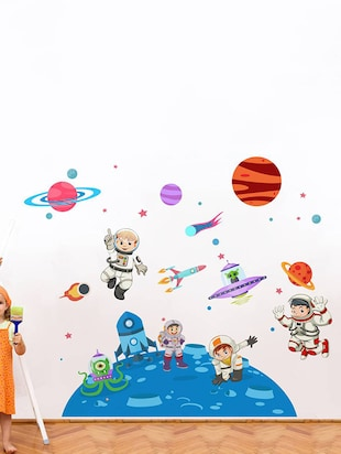 Rawpockets Wall Decals ' Kid's on Space - Kid's Room '  Wall stickers (PVC Vinyl) Multicolour - 15734033 - Standard Image - 3
