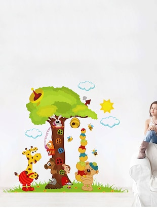 Rawpockets Wall Decals ' Big Tree and Animals Cartoon - Kid's Room '  Wall stickers (PVC Vinyl) Multicolour - 15734034 - Standard Image - 3