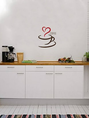 Rawpockets Wall Decals ' Coffee Love '  Wall stickers (PVC Vinyl) Multicolour - 15734037 - Standard Image - 3