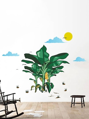 Rawpockets Wall Decals ' Banana Tree Story with Sunrise '  Wall stickers (PVC Vinyl) Multicolour - 15734054 - Standard Image - 3