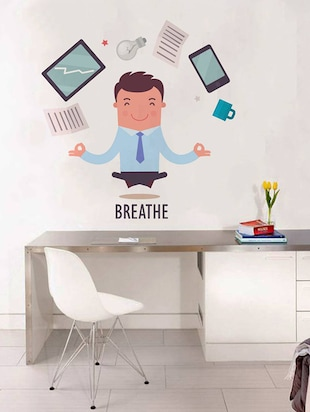Rawpockets Wall Decals ' Breathe Infograph - Office '  Wall stickers (PVC Vinyl) Multicolour - 15734066 - Standard Image - 3