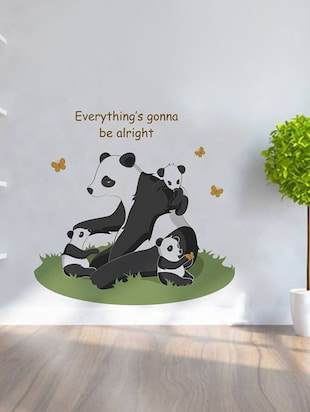 "Rawpockets Wall Decals ' "" Everything Gonna Be Alright "" Quote and Panda Bear '  Wall stickers (PVC Vinyl) Multicolour - 15734077 - Standard Image - 3"