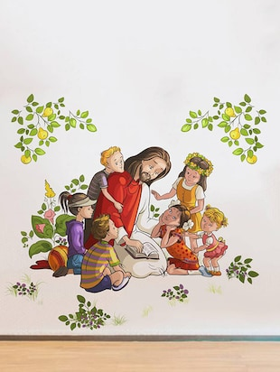 Rawpockets Wall Decals ' Lord Jesus with Kids '  Wall stickers (PVC Vinyl) Multicolour - 15734085 - Standard Image - 3