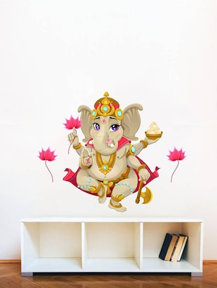 Rawpockets Wall Decals ' Lord Ganesha with Lotus Flower  '  Wall stickers (PVC Vinyl) Multicolour - 15734096 - Standard Image - 3