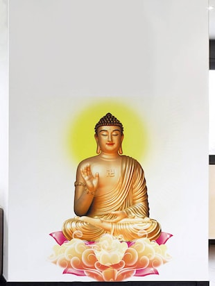 Rawpockets Wall Decals ' Lord Buddha Peaceful on Lotus '  Wall stickers (PVC Vinyl) Multicolour - 15734113 - Standard Image - 3