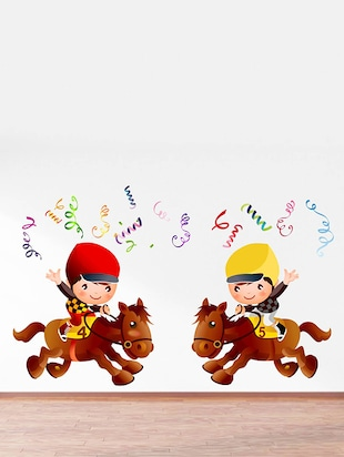 Rawpockets Wall Decals ' Champion Kids Riding Horse - Kids Room '  Wall stickers (PVC Vinyl) Multicolour - 15734116 - Standard Image - 3