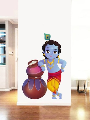 Rawpockets Wall Decals ' Lord Krishna and Butter Pots '  Wall stickers (PVC Vinyl) Multicolour - 15734139 - Standard Image - 3
