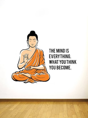Rawpockets Wall Decals ' Peaceful Buddha and Quote on Mind '  Wall stickers (PVC Vinyl) Multicolour - 15734141 - Standard Image - 3