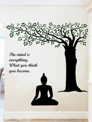 Rawpockets Wall Decals ' Lord Buddha under Tree and Quote on Mind '  Wall stickers (PVC Vinyl) Multicolour - 15734143 - Standard Image - 3