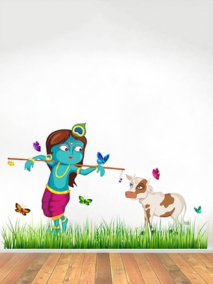 Rawpockets Wall Decals ' Lord Krishna Cow Grass Butterfly Story '  Wall stickers (PVC Vinyl) Multicolour - 15734146 - Standard Image - 3