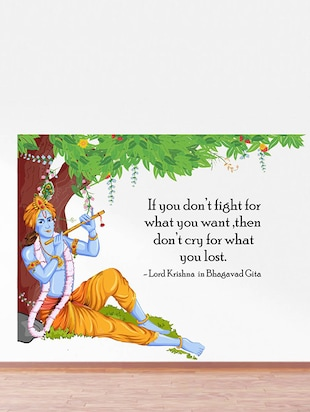 Rawpockets Wall Decals ' Lord Krishna Flute Bhagavad Gita Quote '  Wall stickers (PVC Vinyl) Multicolour - 15734147 - Standard Image - 3