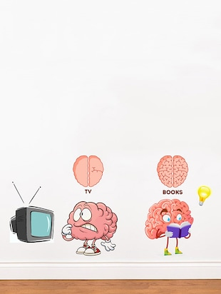 Rawpockets Wall Decals ' TV vs Brain '  Wall stickers (PVC Vinyl) Multicolour - 15734156 - Standard Image - 3
