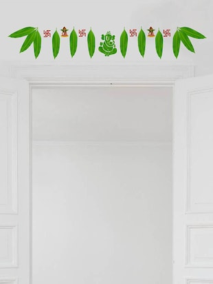 Rawpockets Wall Decals ' Mango Leaves with Ganapathi Decorative for Doors '  Wall stickers (PVC Vinyl) Multicolour - 15734158 - Standard Image - 3