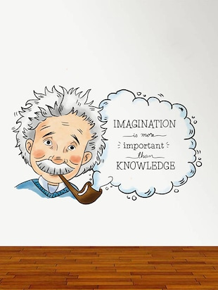 Rawpockets Wall Decals ' Albert Einstein Imagination Quote '  Wall stickers (PVC Vinyl) Multicolour - 15734162 - Standard Image - 3