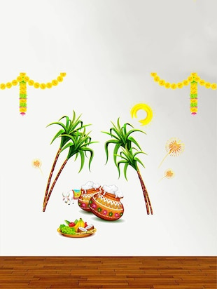 Rawpockets Wall Decals ' Sankranti Pongal Celebrations Decorative '  Wall stickers (PVC Vinyl) Multicolour - 15734163 - Standard Image - 3