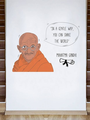 Rawpockets Wall Decals ' Mahatma Gandhi and His Quote '  Wall stickers (PVC Vinyl) Multicolour - 15734167 - Standard Image - 3