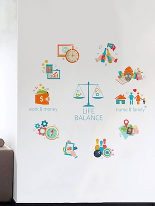 Rawpockets Wall Decals ' Life Balance Chart '  Wall stickers (PVC Vinyl) Multicolour - 15734170 - Standard Image - 3