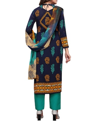 Printed unstitched palazzo suit - 15734944 - Standard Image - 3