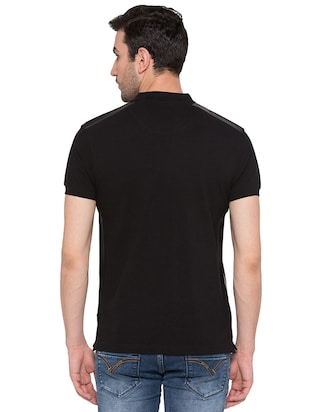 black cotton polo t-shirt - 15735245 - Standard Image - 3