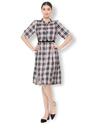 bow detail button up checkered dress - 15735388 - Standard Image - 3