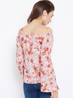 cold shoulder bell sleeved floral top - 15735847 - Standard Image - 3