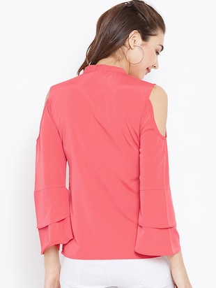 keyhole neck bell sleeved top - 15735856 - Standard Image - 3
