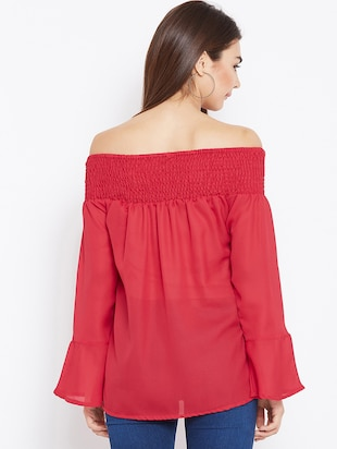 smocked off shoulder top - 15735869 - Standard Image - 3