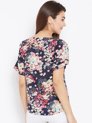 gathered floral short sleeved top - 15735875 - Standard Image - 3