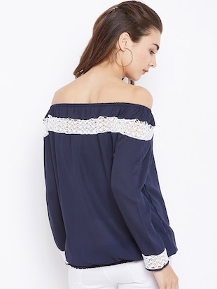 lace insert off shoulder top - 15735879 - Standard Image - 3