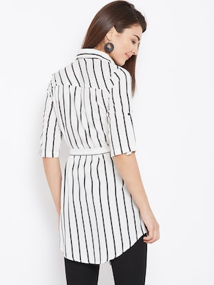 tie up waist striped tunic - 15735898 - Standard Image - 3