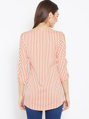 cut out sleeved striped tunic - 15735899 - Standard Image - 3
