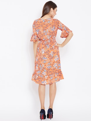 smocked waist bell sleeved dress - 15735932 - Standard Image - 3