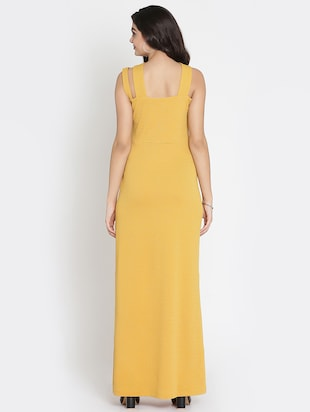 mustard x-neck high slit dress - 15736794 - Standard Image - 3