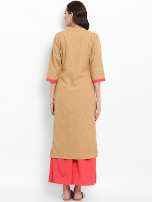 Patch work straight kurta - 15737044 - Standard Image - 3