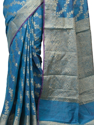 floral chanderi banarasi saree with blouse - 15737556 - Standard Image - 3