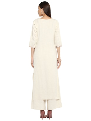 Block printed tassels kurta with palazzo set - 15737597 - Standard Image - 3