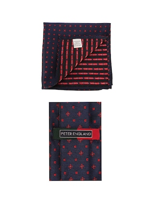 navy cotton tie with pocketsquare - 15737816 - Standard Image - 3