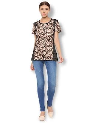animal print lace trim top - 15738089 - Standard Image - 3