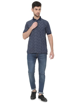blue cotton all over print t-shirt - 15738161 - Standard Image - 3