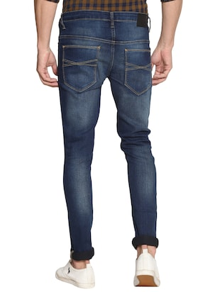 navy blue cotton washed jeans - 15738813 - Standard Image - 3