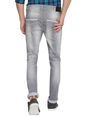 grey cotton washed jeans - 15738815 - Standard Image - 3