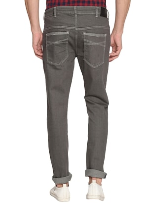 grey cotton plain jeans - 15738816 - Standard Image - 3