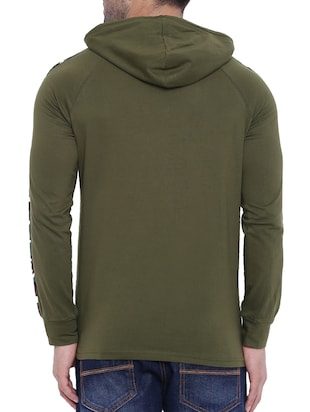olive green cotton raglan t-shirt - 15739171 - Standard Image - 3