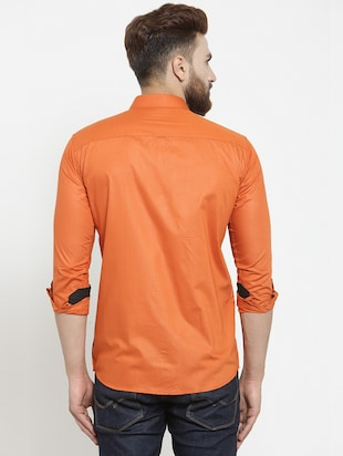 solid orange casual shirt - 15755125 - Standard Image - 3
