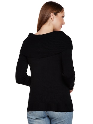 ribbed overlay boat neck pullover - 15773357 - Standard Image - 3