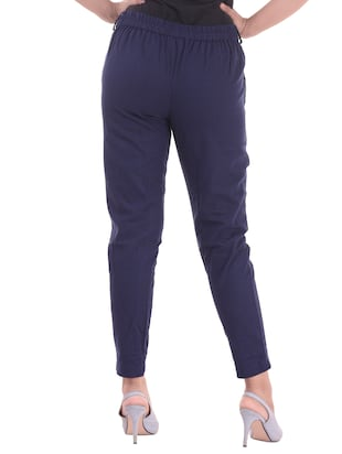 navy blue gathered back trousers - 15784927 - Standard Image - 3