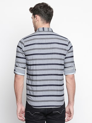 grey striped casual shirt - 15791625 - Standard Image - 3